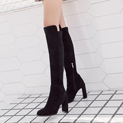 Black Chunky Heel Knee High Boots