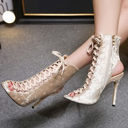 Cross Strap Hollow Stiletto Heel Peep Toe Boots