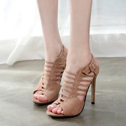 Strappy Buckle Peep-Toe Stiletto Heels
