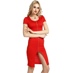 Zipper Short Sleeve Bodycon Dresses
