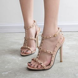 Rivet T-Shaped Buckle Stiletto Heel Sandals