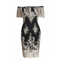 Embroidery Lace Slash Neck Women's Bodycon Dress