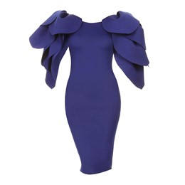 Blue Petal Sleeve Bodycon Dresses