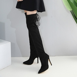 Lace-Up Back Stiletto Heel Thigh High Boots