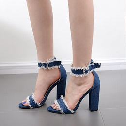 Denim Chunky Heel Dress Sandals
