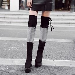 Platform Lace-Up Back Square Toe Thigh High Boots