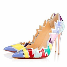 Shoespie Color Block Slip-On Pointed Toe Stiletto Heel