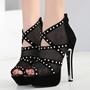 Black Hollow Peep Toe Women's Shoes