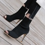 Black Hollow Peep Toe Stiletto Heel Boots