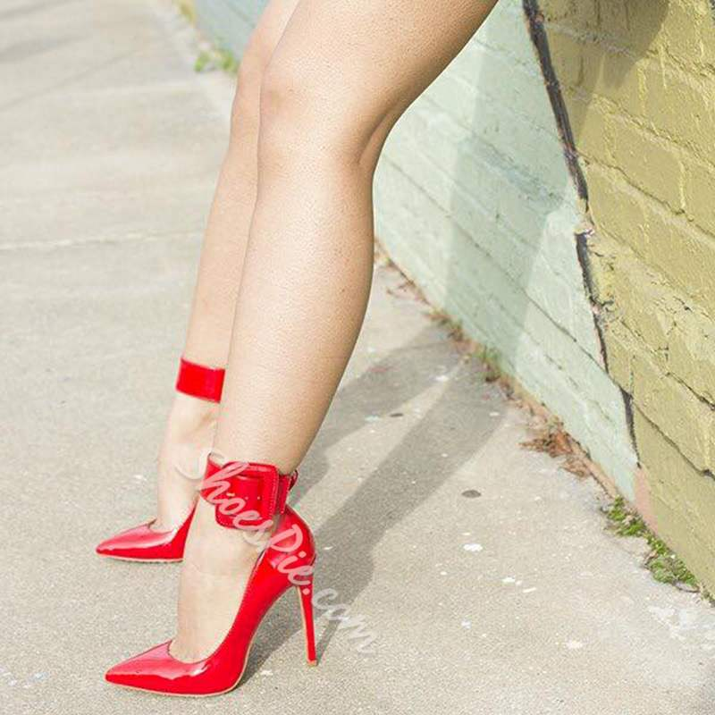 Red Line-Style Buckle High Stiletto Heels