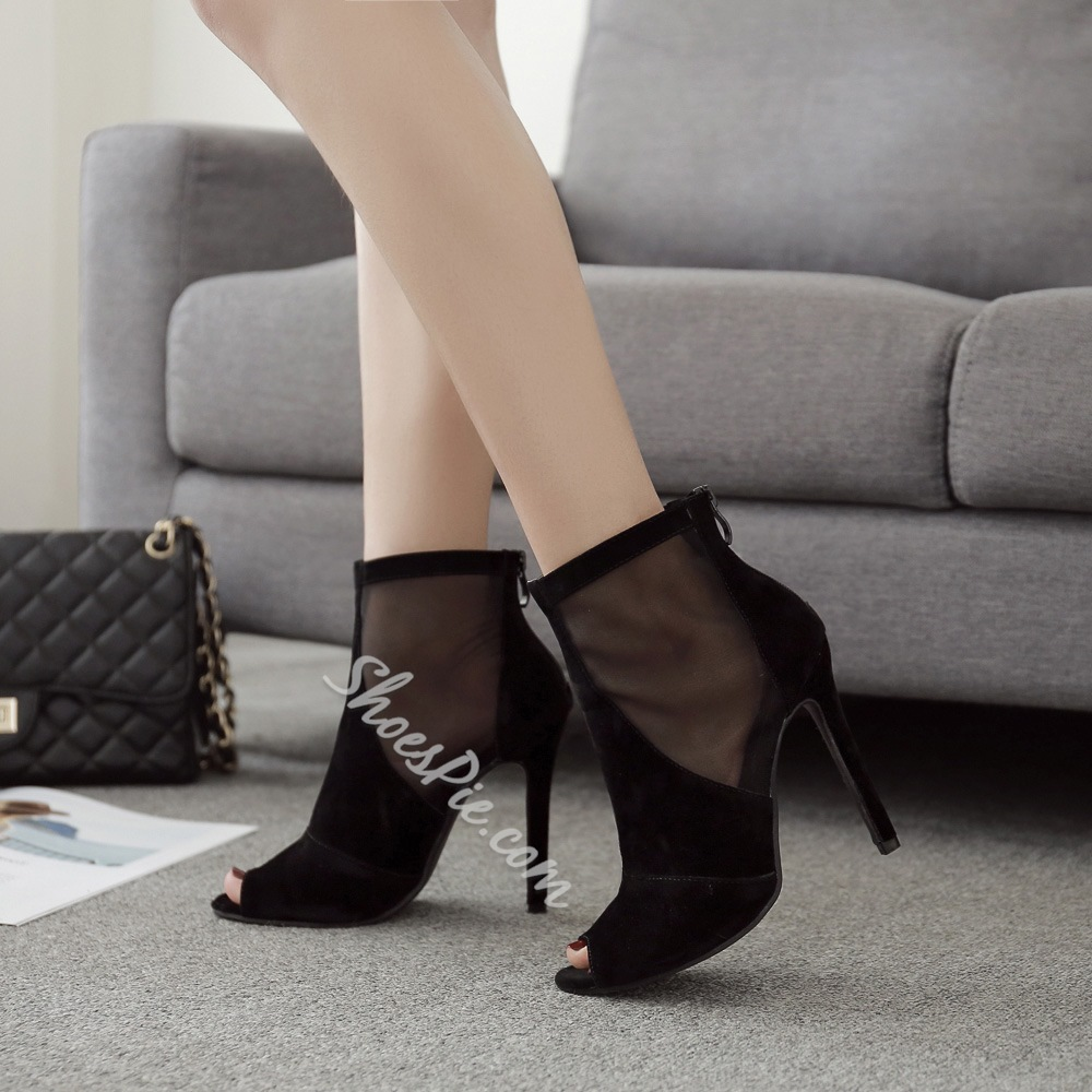 Sexy Black Hollow See-Through Stiletto Heel Boots