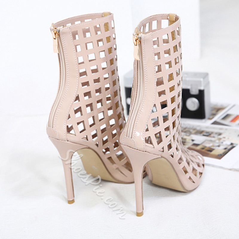 Peep Toe Back Zip Stiletto Heel Hollow Boots