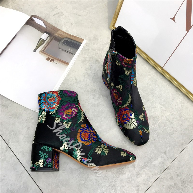 Chunky Heel Floral Embroidery Lace-Up Boots