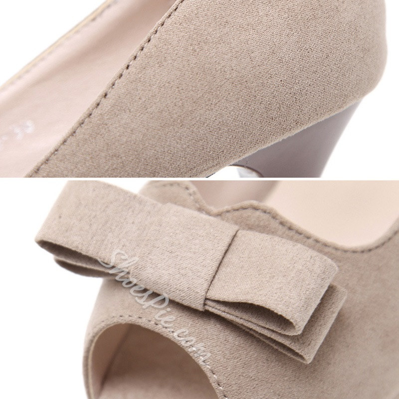 Platform Bow Slip-On Stilettto Heels
