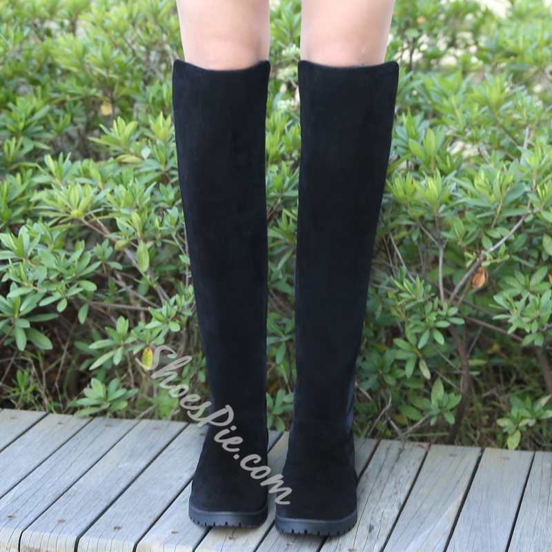 Fashion Block Flat Heel Slip-On Knee High Boots