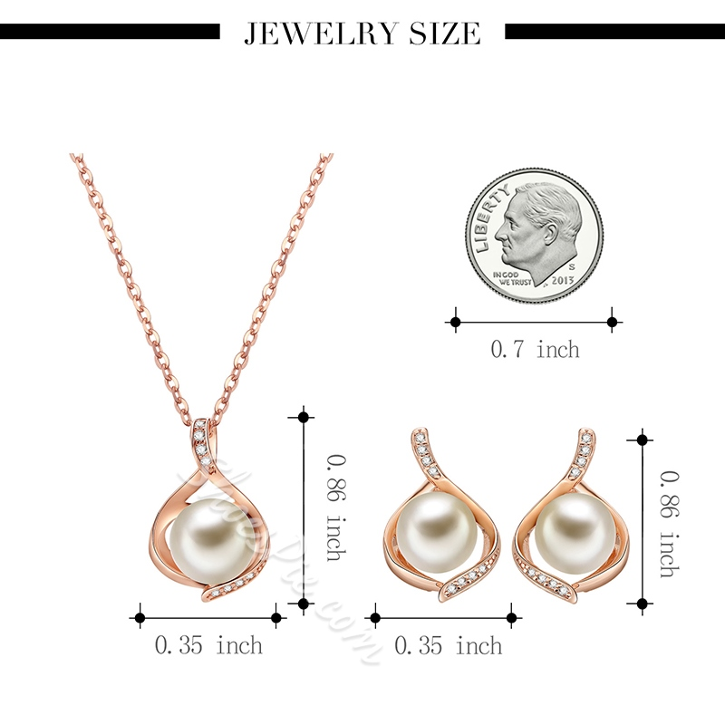 Hollow Out Pearl Inlaid Rose Gold Alloy Two-Piece Jewelry Sets
