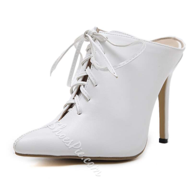 White Cross Strap Stiletto Heel Ankle Boots