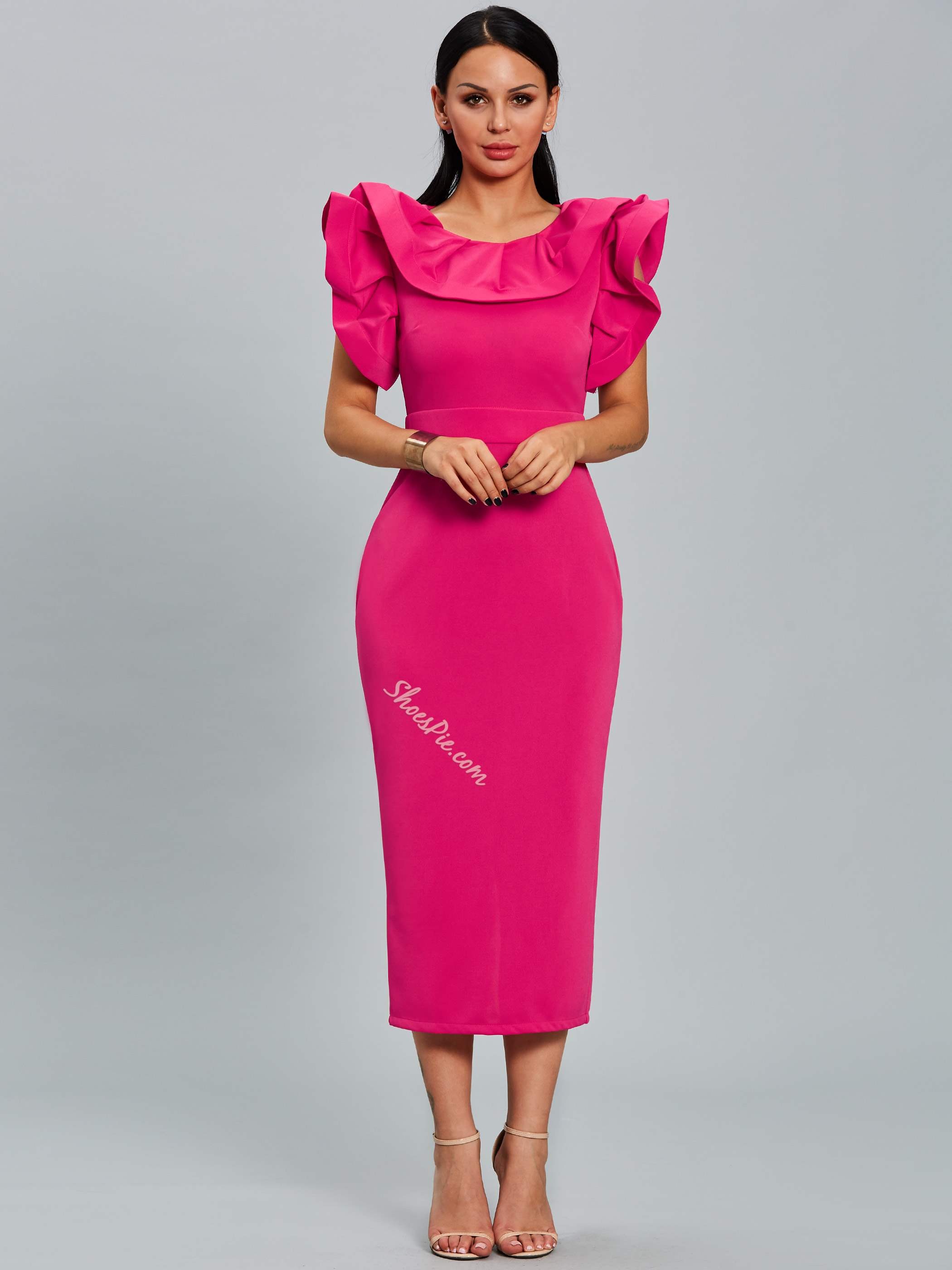 Falbala Ruffle Sleeve Round Neck Bodycon Dresses