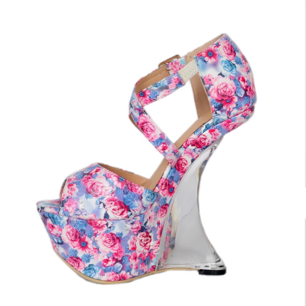 Floral Peep Toe Women's Shoes