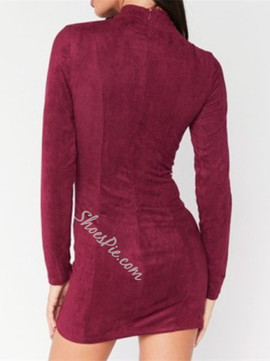 Hollow Stand Collar Long Sleeve Bodycon Dresses