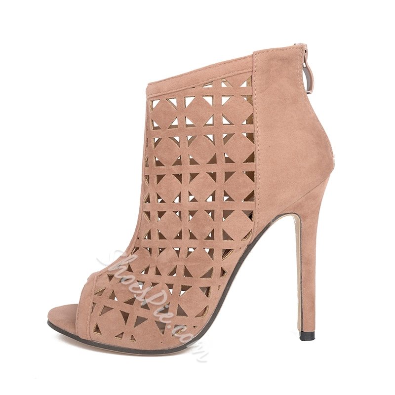 Peep Toe Stiletto Heel Hollow Boots