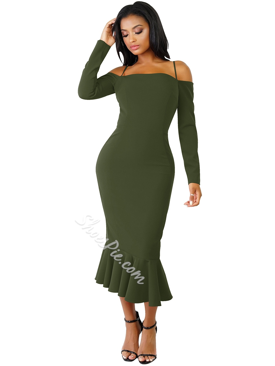 Long Sleeve Mid-Calf Bodycon Dresses