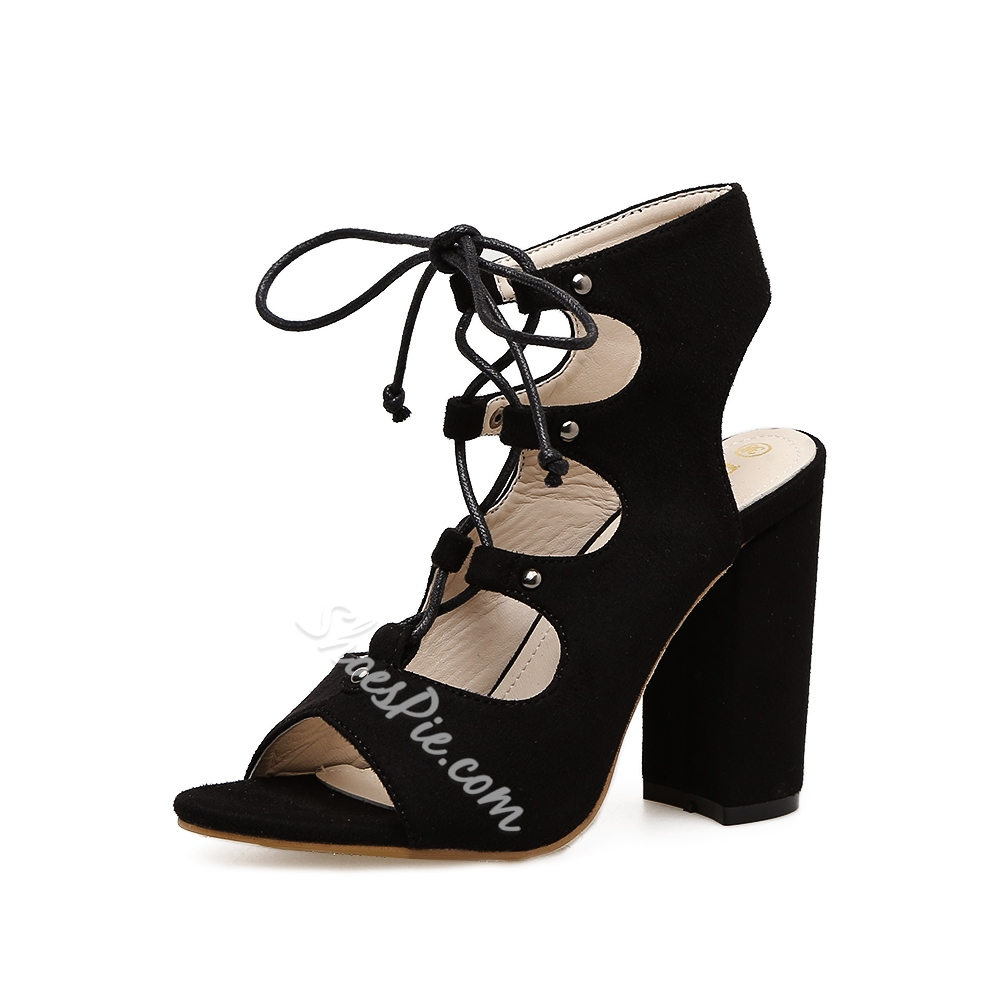 Lace-Up Chunky Heel Casual Women's Shoes