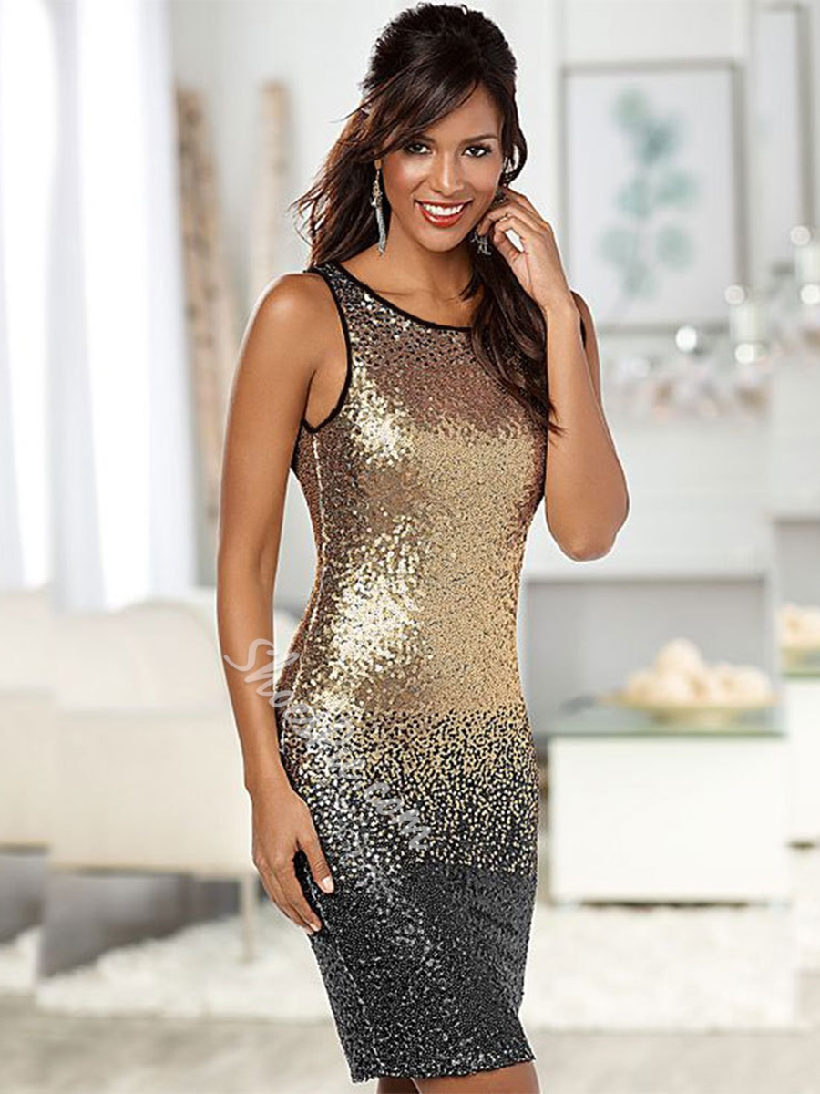 Sleeveless Backless Sequins Bodycon Dresses