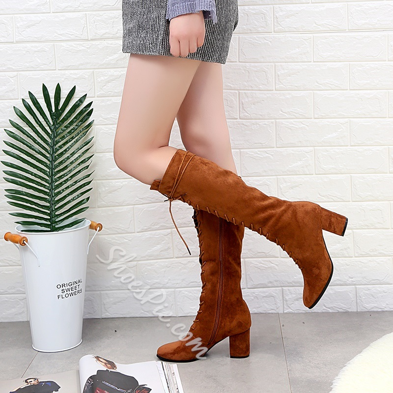 Worn Chunky Heel Cross Strap Knee High Boots
