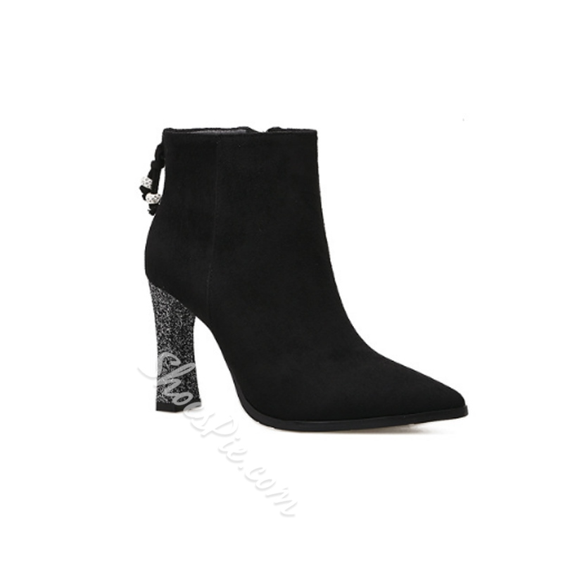 Casual Side Zipper Chunky Heel Boots