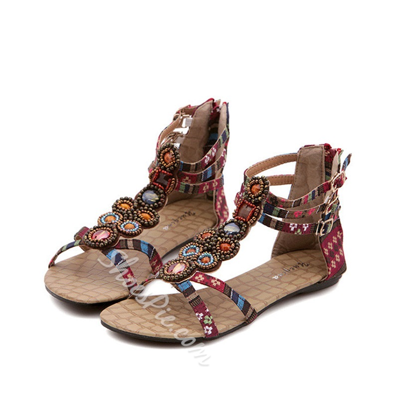 Rhinestone Casual Open Toe Flat Sandals