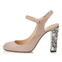 Solid Color Chunky Heel Rhinestone Women's Shoes