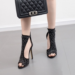 Rhinestone Black Sexy High Stiletto Heels