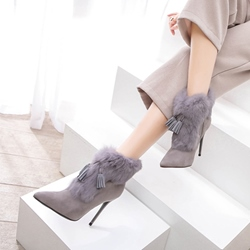 Winter Fluffy Fringe Stiletto Heel Fashion Boots