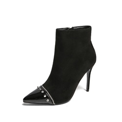 Sexy Black Stiletto Heel Rivet Boots