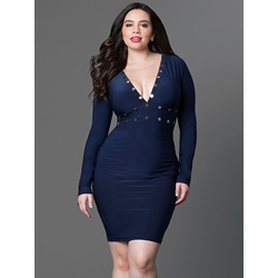 Rivet V-Neck Long Sleeve Bodycon Dresses