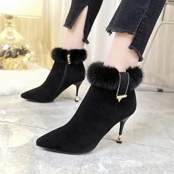 Winter Black Spool Heel Purfle Fashion Boots