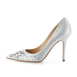 Shoespie White Rhinestone Stiletto Heel Pumps