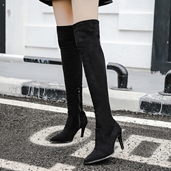 Sexy Black Stiletto Heel Knee High Boots