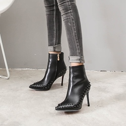 Black Rivet Stiletto Heel Fashion Boots