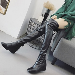 Square Toe Hidden Elevator Heel Knee High Boots