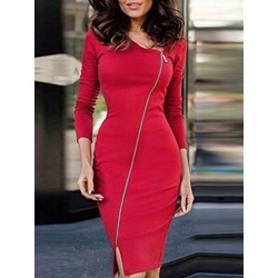 Asymmetric ZipperLong Sleeve Bodycon Dresses