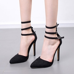 Black Buckle Stiletto Heel Women's Shoes