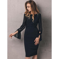 Mesh See-ThroughFlare Sleeve Bodycon Dresses