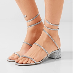 Shoespie Rhinestone Ankle Strap Open Toe Sandals