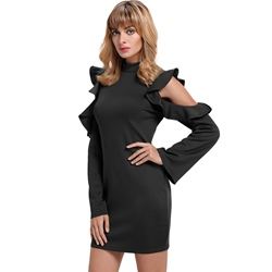Sexy Stand Collar Above Knee Long Sleeve Bodycon Dresses