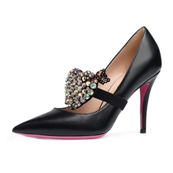 Shoespie Rhinestone Solid Color Stiletto Heel Pumps