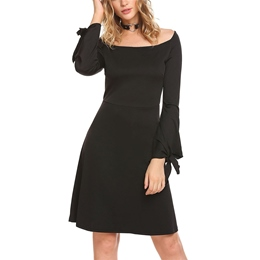 Slash Neck A-Line Long Sleeve Bodycon Dresses