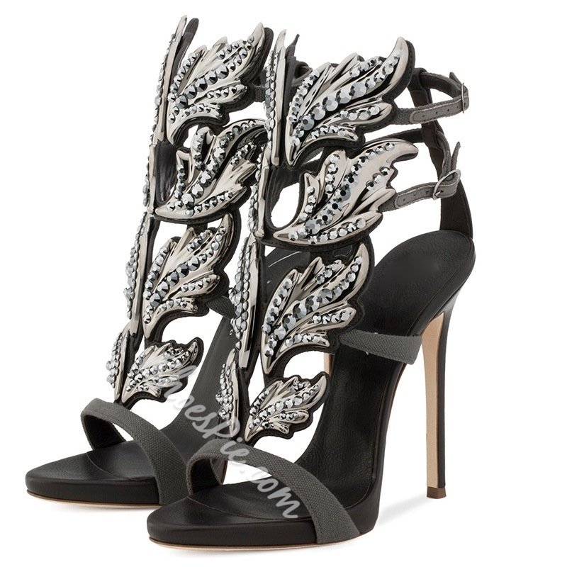 Rhinestone Ankle Strap Stiletto Heel Sandals