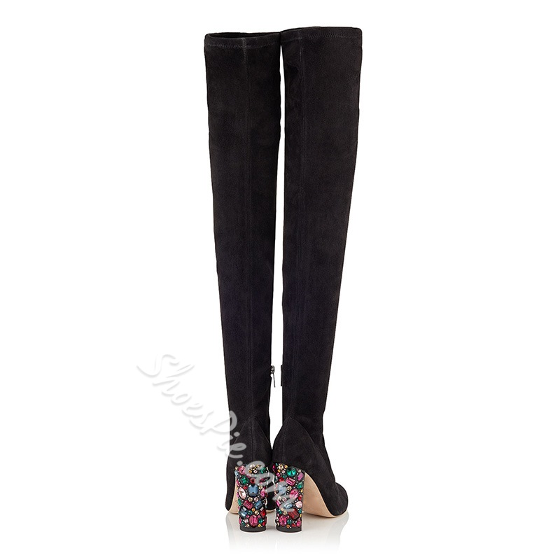Fashion Chunky Heel Thigh High Boots